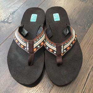 Teva Mush Flip Flop Orange Brown Sandal Size 6